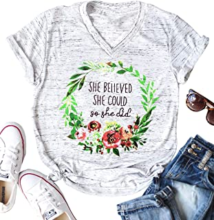 She Believed She Could So She Did Christian Shirt Women Short Sleeve Slogan Tees Grunge Tumblr Top