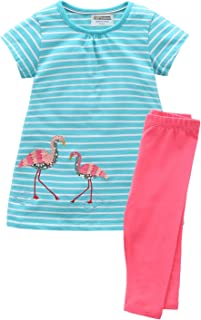 Fiream Girls Summer Casual Clothing Sets Toddler Cotton Dresses and Leggings 2 Packs Outfit