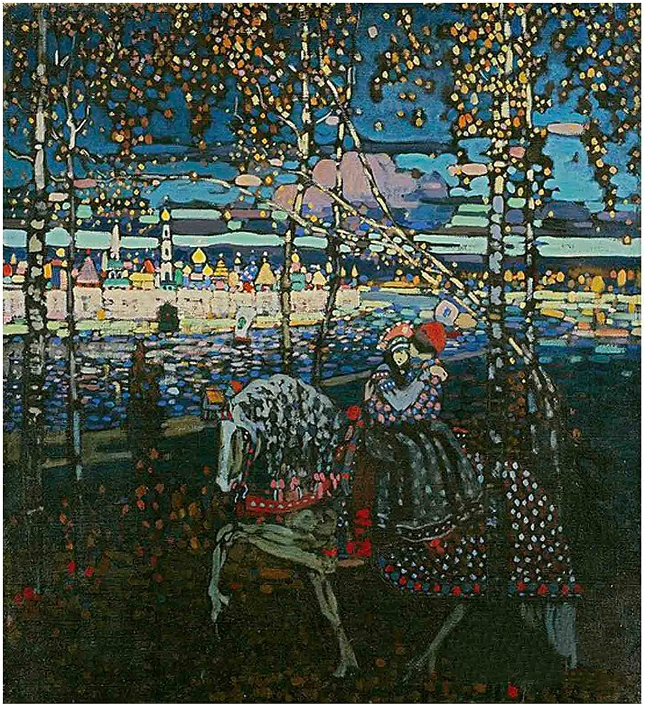 Pareja a caballo, Wassily Kandinsky Lienzo Impresión Pintura póster Reproducción Cuadros Decoracion Salon Lienzos Decorativos Cuadro Sobre Lienzo (35x38cm (13.8x14.9in), Sin Marco)