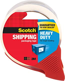 """Scotch Heavy Duty Shipping Packaging Tape, 1.88"""" x 54.6 Yards, 3"""" Core, Clear, Great for Packing, Shipping & Moving, 1 Rol..."""