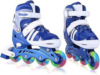 ANCHEER Adjustable Inline Skates for Women Kids LED Wheels Inline Roller Skates Boys Girls Size 12J-8 Outdoor Indoor (Blue&White, US 5-8)