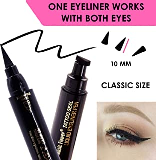 Black Liquid Eyeliner, Cat Eye Stamp eyeliner, Eye Liner Stamp Perfect Wings, Wingliner Waterproof Makeup-quick flick vampstamp eyeliner style -2 Headed w. felt tip;No stencil Cat Eye