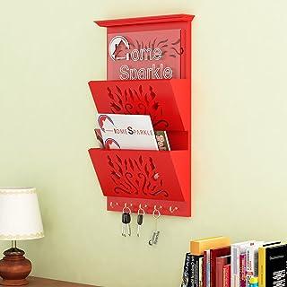 Home Sparkle Wooden Letter Cum Key Holder | Wall Mounted Letter Holder Key Holder for Home Decor (Red)
