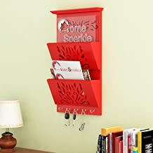 Home Sparkle Wooden Letter Cum Key Holder | Wall Mounted Letter Holder Key Holder for Home Decor (Red)