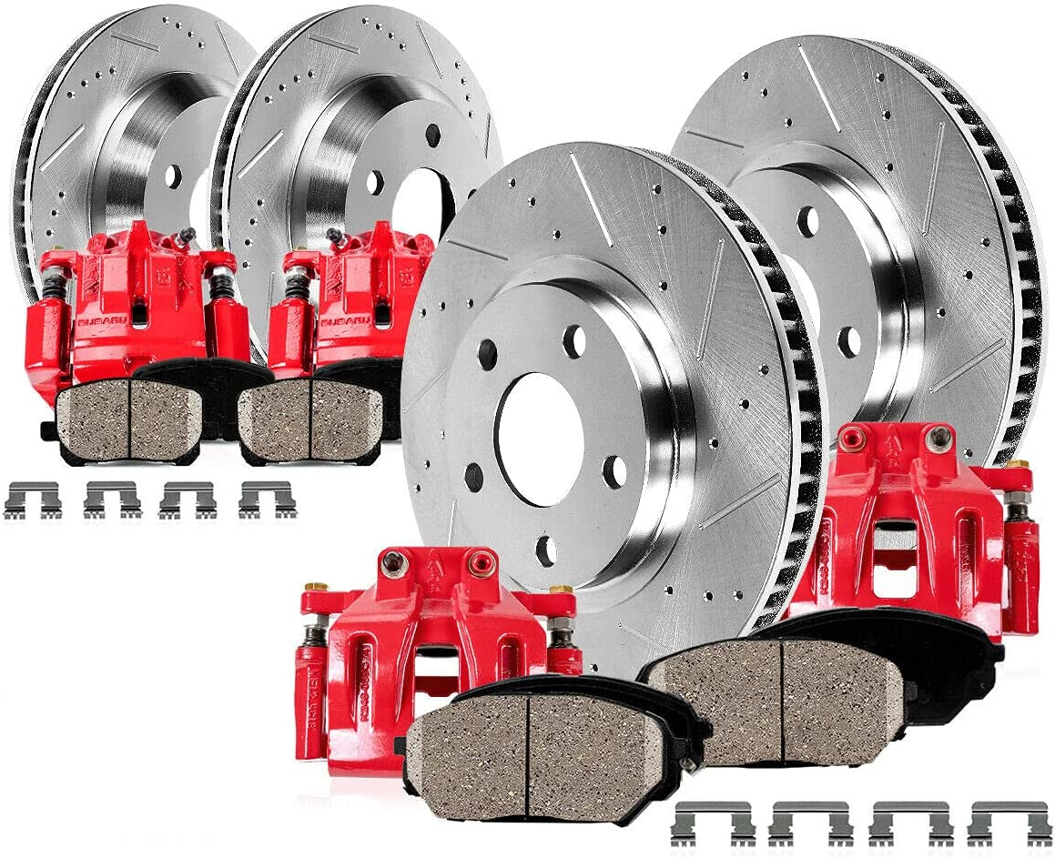 OLINDA Max 40% OFF Front + Rear Red Brake Rotors Pads Calipers Some reservation And Ceramic