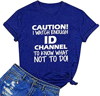 Women Caution I Watch Enough ID Letter Print Tops Casual Short Sleeve Tee Graphic Novelty T-Shirt
