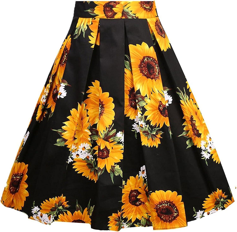 Fit Design Women's Vintage Pleated Skirt Aline Floral Print Midi Skirts