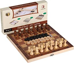 3-in-1 Folding Travel Chess & Checkers & Backgammon Wooden Chess Set by Joview for Kids or Adults Chess Board Game 11.5X11.5X0.8Inch(Beige&Dark Brown Chess Pieces)