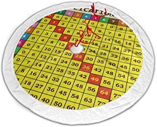 Ladninag Vintage Multiplication Table Math Christmas Tree Skirt 48 inch White Plush Faux Fur Xmas Tree Skirt Mat for Halloween Holiday Party Home Decoration Gift Indoor Outdoor
