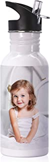 Custom Photo Water Bottle w/Text, 16 oz. Personalized Water Bottle w/Any Photo, Picture and Text - Botella Personalizada, Personalized Photo Gifts for Parents, Christmas Gifts, Birthday Gift