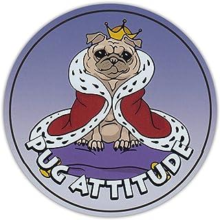 PotteLove Round Dog Breed Car Magnet - Pug Attitude - Magnetic