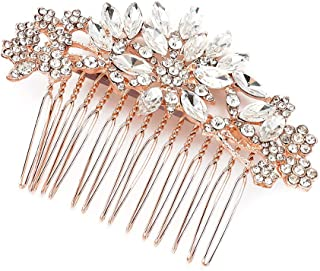 JONKY Bride Wedding Hair Comb Crystal Hair Piece Rose Gold Rhinestone Bridal Headpieces Hair Accessories for Women and Girls