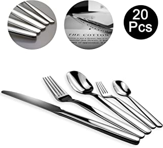 DreamMS 20-Piece Stainless Steel Cutlery flatware Set 18/10 Material, Service For 4,New Launched Modern Design, Including Spoon Fox Knife