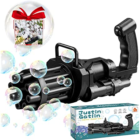 KoolToi 2021 Latest Electric Gatling Bubble Machine Gun, 2-1 Bubble Blower Bubble Maker with Fan, Summer Outdoor Toys for Toddlers Kids Adults, Party Favors for Boys Girls (Mini, Black)