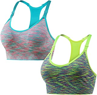 NanaDay Women's Sports Bra Seamless Racerback Yoga Bras Removable Pads for Gym Workout Fitness