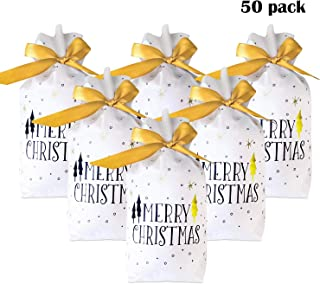 Christmas Party Supplies Treat Bags Cookie Goodie Bags - 50 Packs Drawstring Gift Wrapping Plastic Bags, Bakery Biscuit Candy Buffet Package Party Favor Xmas Cellophane Bags for Holiday Kids