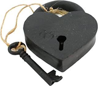 HomArt 1582-2 Cast Iron Heart Lock and Key, Black