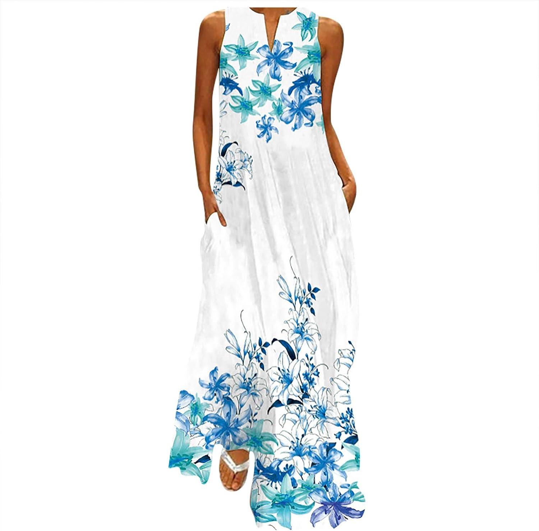 Dresses for Women,Women's Summer Casual Loose Long V-Neck Dress Beach Sleeveless Sexy Vintage Maxi Dresses