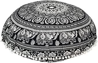 Stylo Culture Ethnic Round Throw Pillow Covers for Couch Mandala Floor Cushion Printed Floor Cushion Cover Black 32 x 32 B...