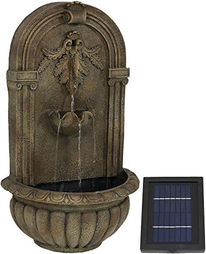 new arrival Sunnydaze Florence Outdoor Solar Wall Fountain - lowest Hanging sale Waterfall Wall Mounted Fountain & Backyard Water Feature - Florentine Stone Finish - 27 Inch Tall online