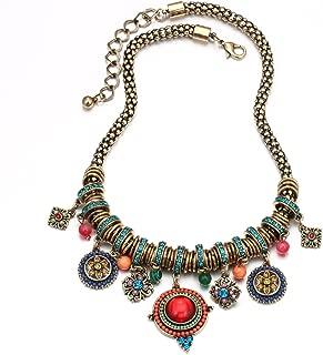 Bohemian Multicolor Round Pendants Enamel Rhinestone Ethnic Necklace for Women