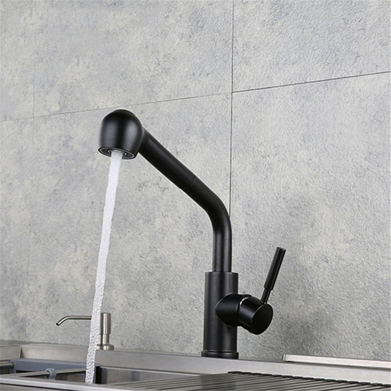T-TSLT Küchenauszughahn schwarz hei und kalt einziehbare Spüle Wasserhahn, A