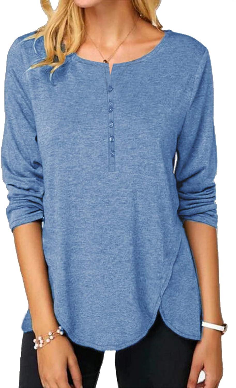 OMSJ Women Button Down Blouse Short/Long Sleeve T Shirts Casual Henley Tunic Tops