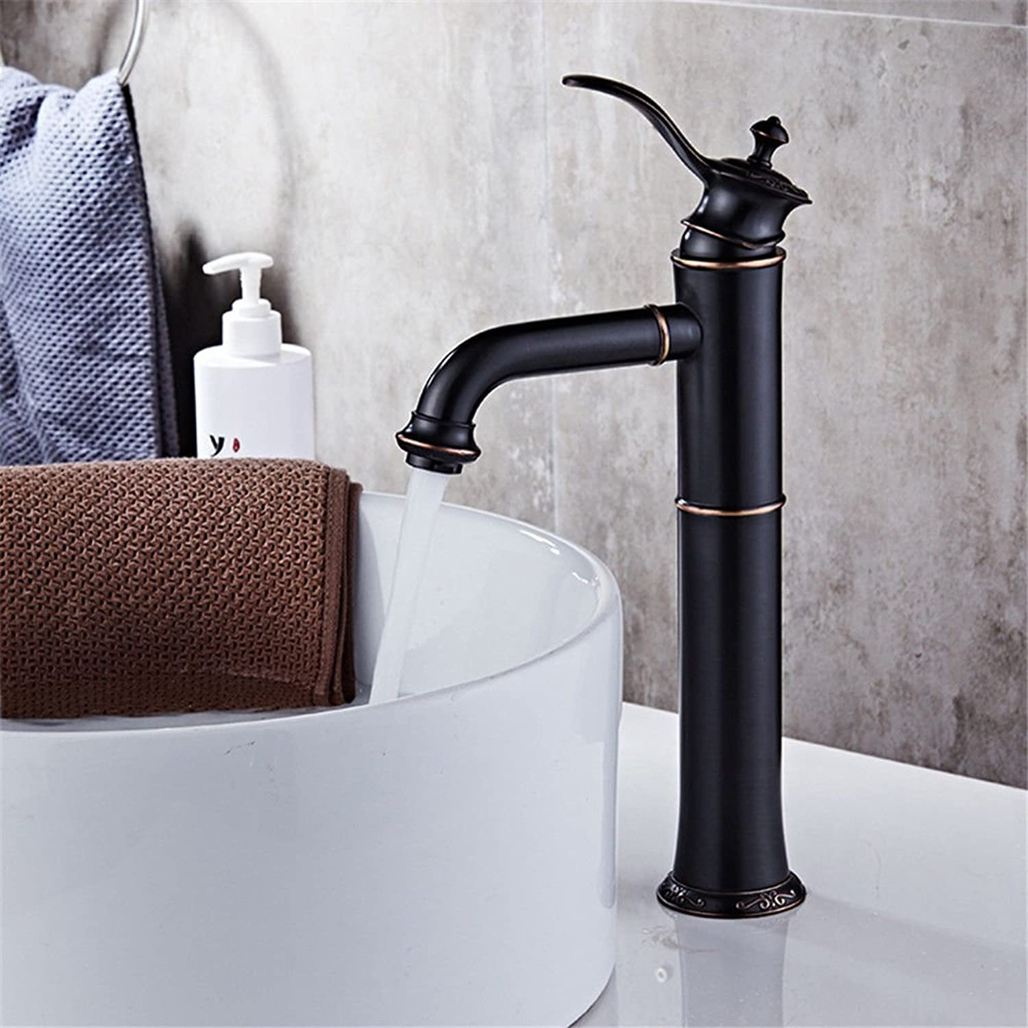 Modern simple copper hot and cold kitchen sink taps kitchen faucet Head-mounted washbasin faucet antique hotel basin faucet copper faucet Suitable for all bathroom kitchen sinks