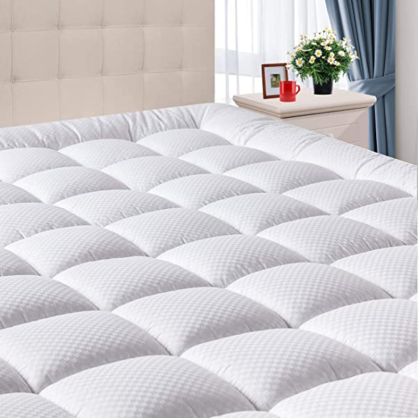 Domicare Queen Mattress Pad Cover With Deep Pocket 8 21 Cooling Pillowtop Cotton Quilted Mattress Pad Down Alternative Hypoallergenic Fitted Mattress Topper