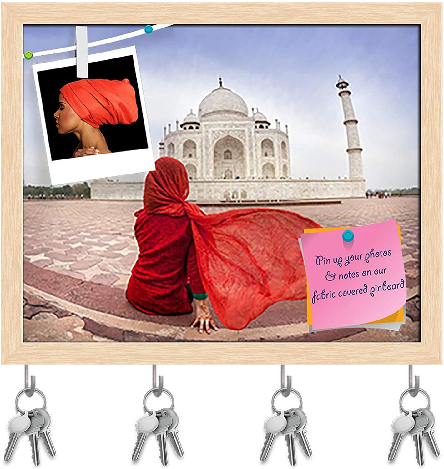 Artzfolio Woman Near Taj Mahal Agra India D3 Key Holder Hooks   Notice Pin Board   Natural Brown Frame 19.8 X 16Inch