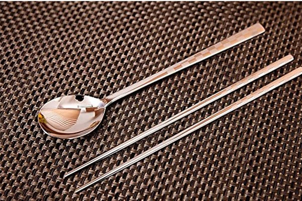 Stainless Steel 1 Set Korean Style Metal Chopsticks Spoon Set