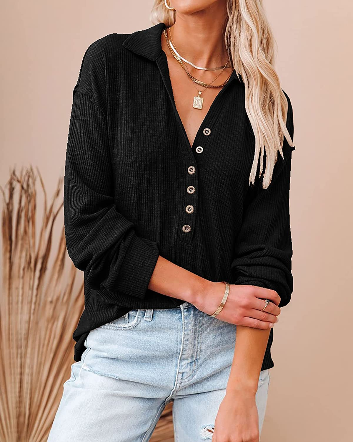 BTFBM Women Casual Button Up V Neck Blouses Long Sleeves Solid Color Stand Collar Knitted Tops Cute Relaxed Fit Shirts