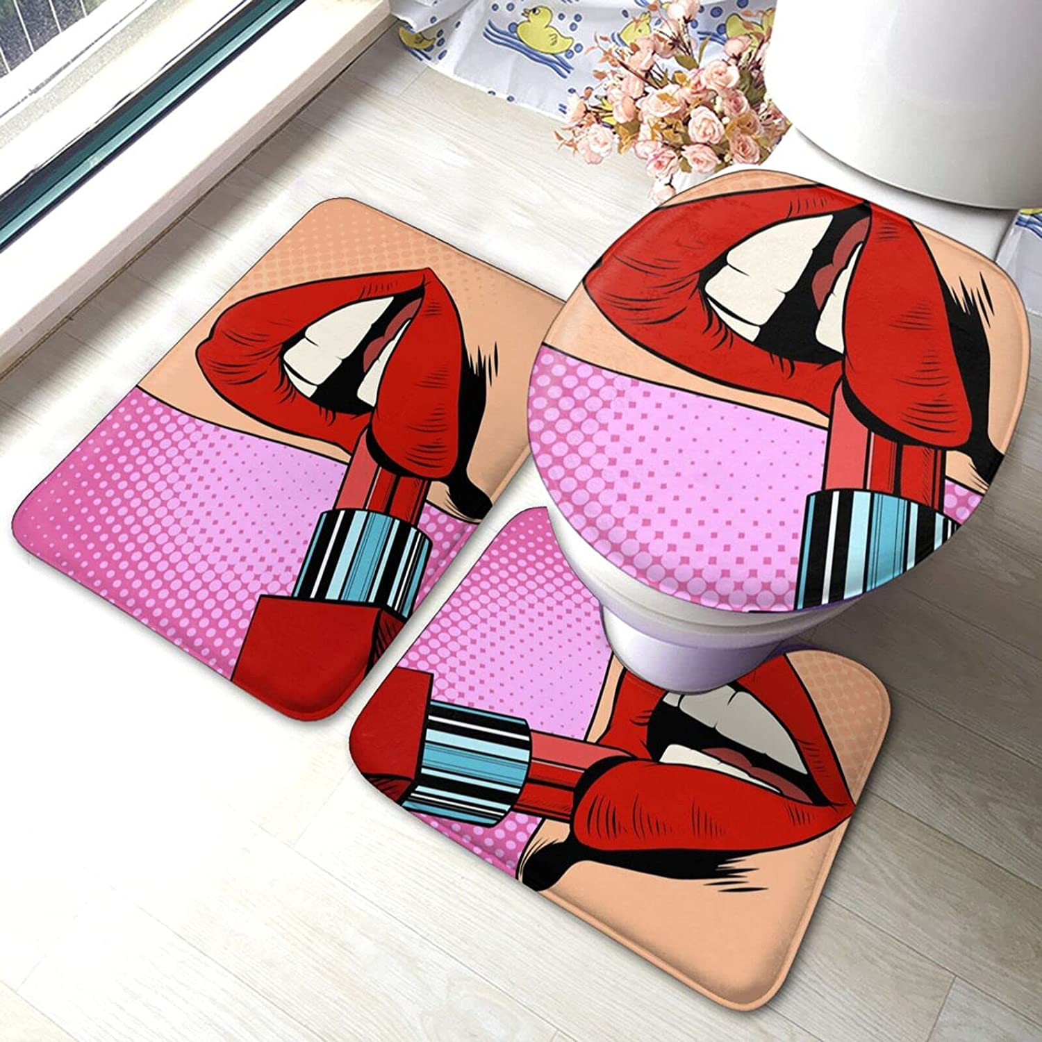Red-Lipstick Now free shipping Makeup Bathroom Antiskid Set Dallas Mall 3 Piece Pads