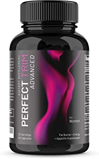 Perfect Trim Advanced Fat Burner for Women - Weight Loss Supplement and Appetite Suppressant, Green Tea Extract, Caffeine and Coleus Forskohlii to Boost Metabolism and Burn Belly Fat (60 Veggie Caps)