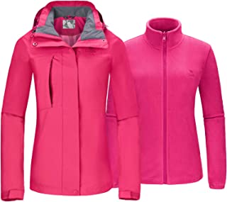 Women's Ski Jacket for Winter 3 in 1 Waterproof Windproof Snow Hooded Jacket with Warm Fleece Liner Jacket