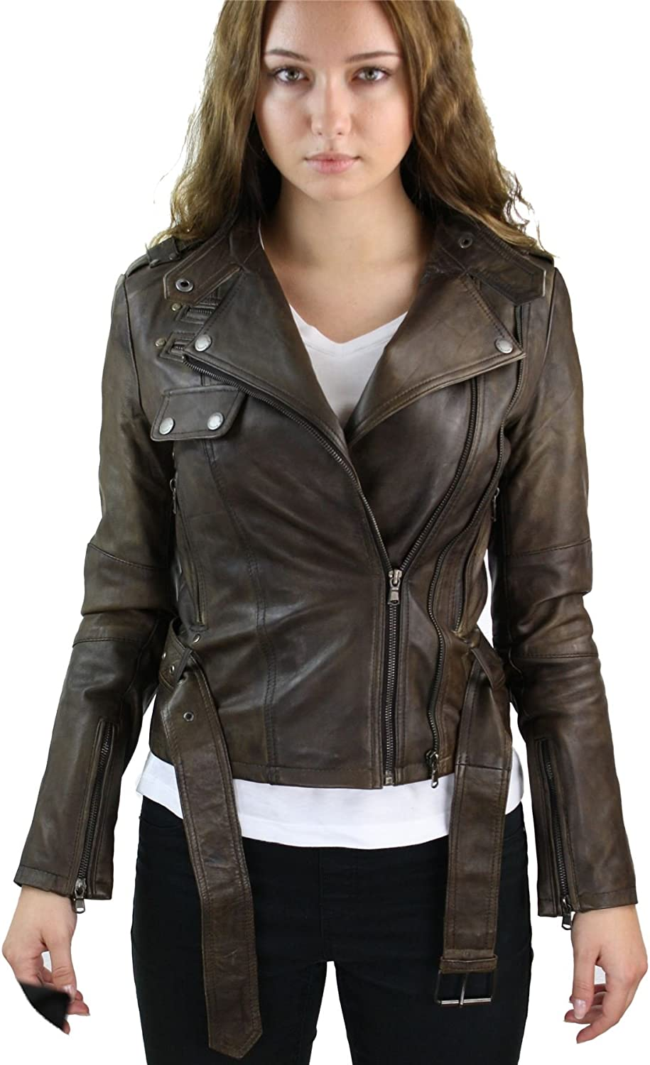 Aviatrix 100% Ladies Real Leather Jacket Fitted Bikers Style Vintage Brown Rock
