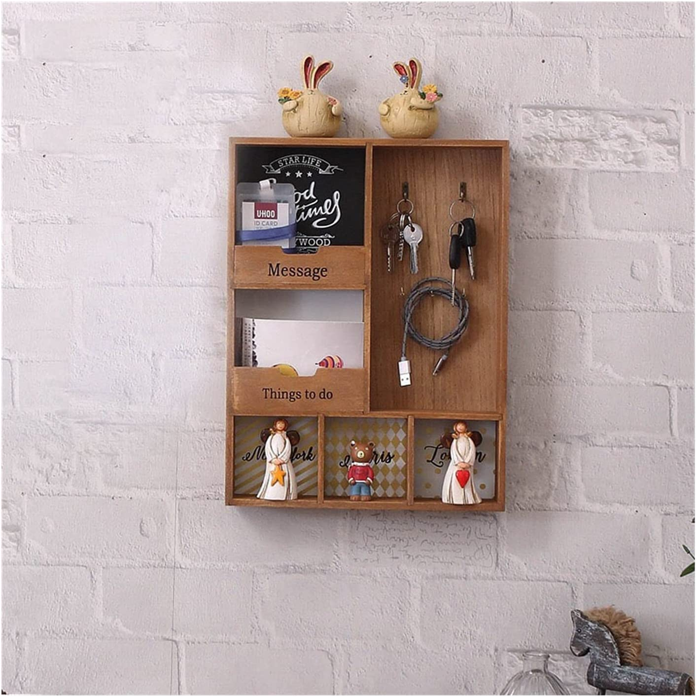JQDMBH Key Inexpensive Holder Mail Wooden Ho Layer Rack Limited price Three Storage