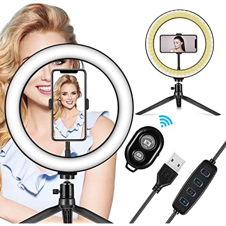"""LED Ring Light 10"""" with Tripod Stand & Phone Holder - Dimmable Desk Makeup Ring Light for YouTube Video Live Stream Makeup Photography, USB Powered with 3 Light Modes & 10 Brightnes"""