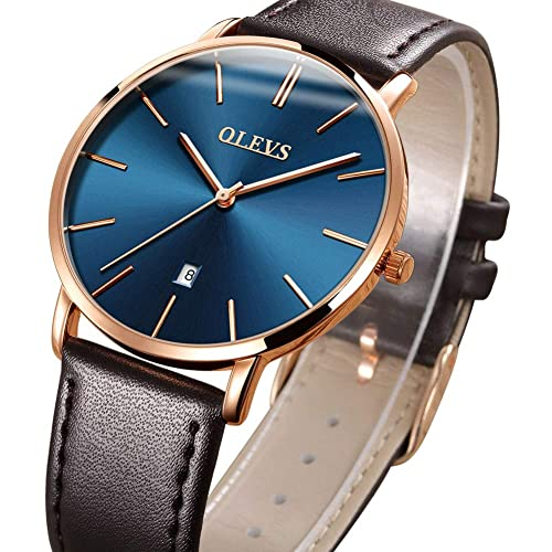 Top Amazon Watches,Mens Thin Watches,Simple Leather Watch Men Wrist Watch Rose Gold