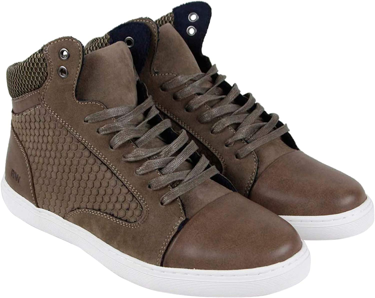 Robert Wayne Garroway Mens Brown Leather Suede High Top Sneakers shoes