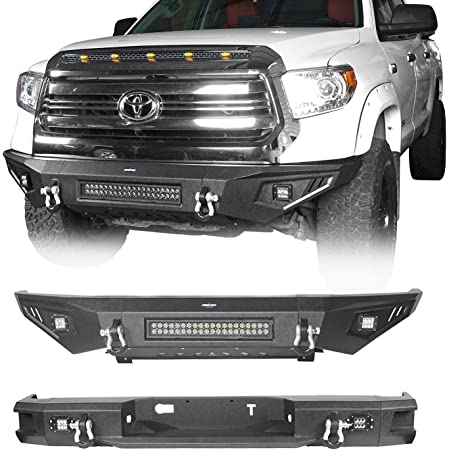 Hooke Road Tundra Bumper Combo Full Width Front Bumper & Rear Step Bumper Compatible with Toyota Tundra Pickup Truck 2014 2015 2016 2017 2018 2019 2020 2021