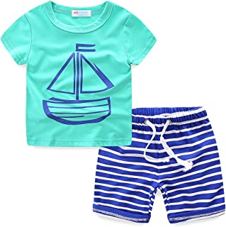 Boys Summer Clothes Print T-Shirt and Stripe Shorts Set for Boys 1-6 Years