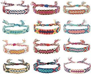 hangzhoushiJacob Elsie (12 unidades) pulseras tejidas hechas a mano, pulseras de amistad multicolor, pulsera trenzada para el tobillo, pulsera trenzada de algodón de cáñamo