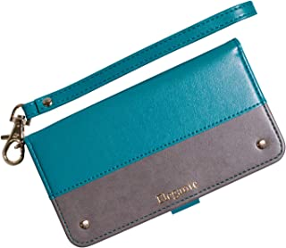 Plus-S 【Elegante Two-tone】 HUAWEI P20 lite ケース 手帳型 【07.ターコイズ×グレージュ】 カード収納 ストラップ付き バイカラー 全8色