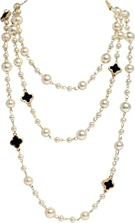 Fashion Jewelry Clover Charm Immitation Pearl Chain Necklace