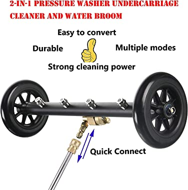 SZSXHX S005 Dual-Function Undercarriage Cleaner, Surface Cleaner for Pressure Washer, 16 Inch, Underbody Car Wash Water Broom