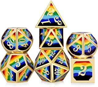 Rainbow DND Metal Dice Set,DNDND Heavy 7 PCS Zinc Alloy Polyhedral Die with Free Metal Tin for Dungeons and Dragons D&D Roleplaying Table Games (Gold Number with Rainbow Colors)
