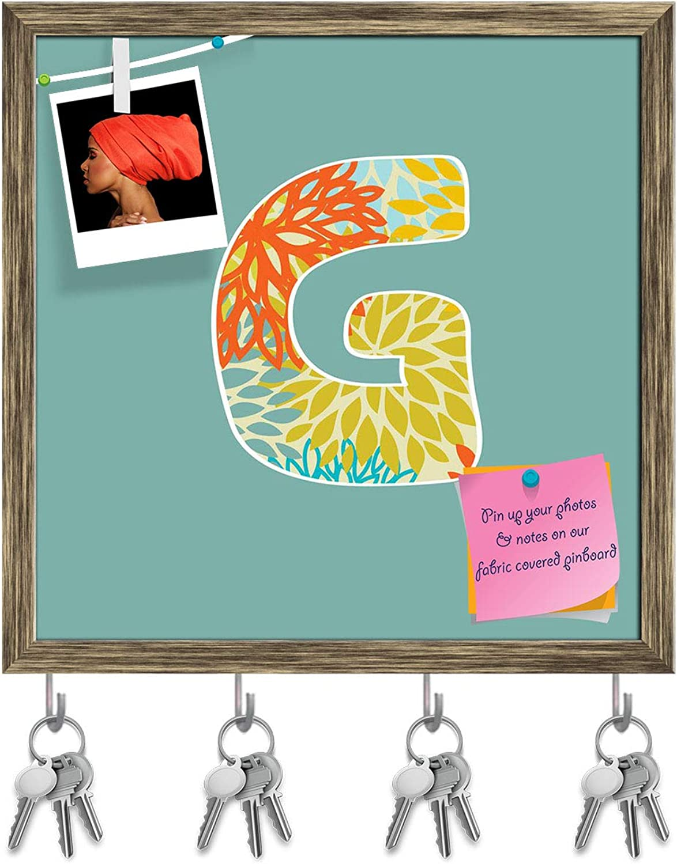 Artzfolio Floral Letter G Key Holder Hooks   Notice Pin Board   Antique golden Frame 20 X 20Inch
