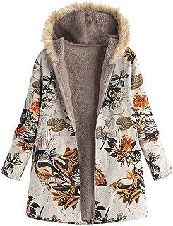 Puls Size Women Fur Hoodie Zipper Velvet Floral Printed Cardigan Long Coat Outwear