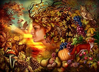 Wooden Jigsaw Puzzle - Spirit of Autumn by Ciro Marchetti - 385 Pieces. Made in USA by Nautilus Puzzles